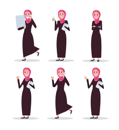 Set of business arab woman character with hijab. flat character design. vector illustration 向量圖像