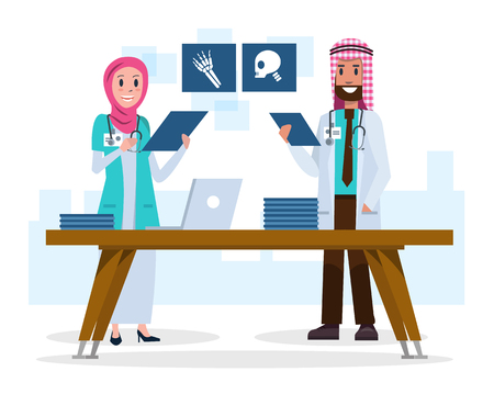 medical laboratory: Couple Saudi Arab doctors looking and talking about x-ray films in the room. flat character design .Vector illustration
