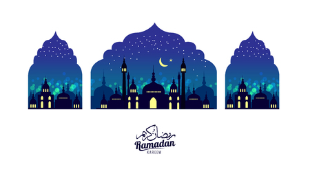 Ramadan Kareem. Beautiful greeting card. Scene with Mosque or Masjid. flat design elements. vector illustration