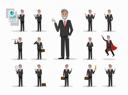 finding: Set of Senior businessman character poses. office life concept. flat design elements. vector illustration