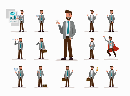 super cross: Set of businessman character poses. office life concept. flat design elements. vector illustration Vectores
