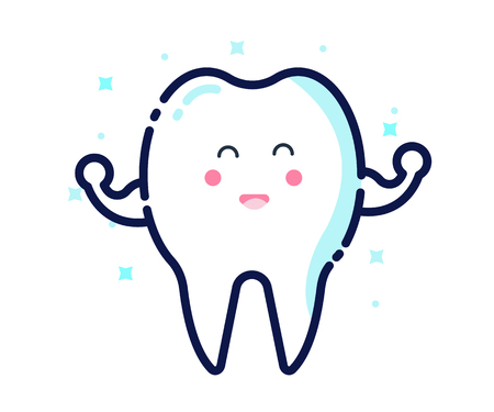 whiten: Healthy and whitening tooth character. flat thin line icon design. vector illustration