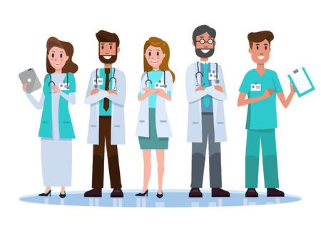 病院の医療スタッフのチーム。 フラットのキャラクター デザイン。ベクトル図  イラスト・ベクター素材
