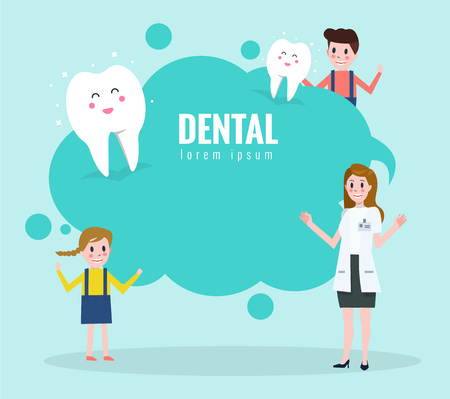 Doctor teaching about healthy teeth. Text bubble.  flat character design. vector illustration