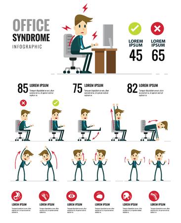 オフィス症候群インフォ グラフィック。健康・医療。フラットのキャラクター デザイン。ベクトル図  イラスト・ベクター素材