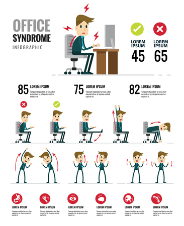 Office syndroom Infographics. Gezondheidszorg en medisch. Platte karakterontwerp. Vector illustratie Stock Illustratie