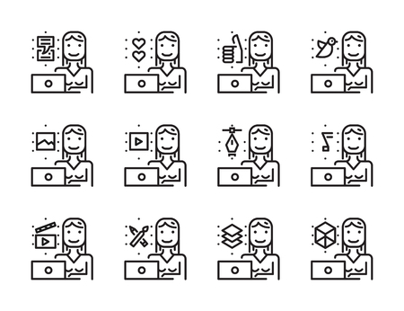 line work: Worker woman with laptop outline icon set. Creative work and social media. Modern minimalistic style. Pixel perfect thin line icons design. vector illustration Illustration