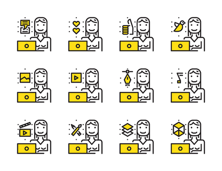 dimension: Worker woman with laptop outline icon set. Creative work and social media. Modern minimalistic style. Pixel perfect thin line icons design. vector illustration Illustration