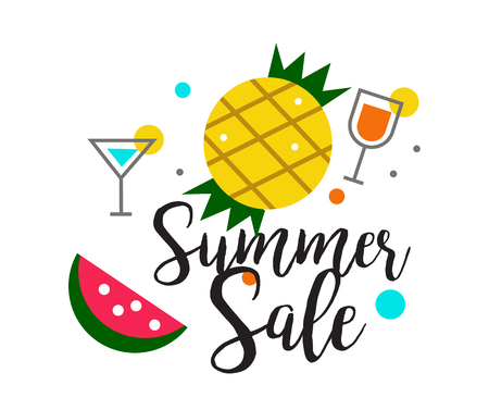 Summer Sale heading design for banner or poster. Sale and discounts. flat character design. vector illustration Illustration