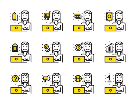 Worker woman with laptop outline icon set. Online Marketing, shopping online, Banking online concept. Modern minimalistic style. Pixel perfect thin line icons design. vector illustration Illustration