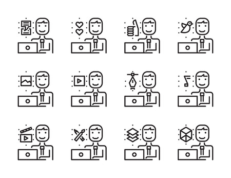line work: Worker man with laptop outline icon set. Creative work and social media. Modern minimalistic style. Pixel perfect thin line icons design. vector illustration Illustration