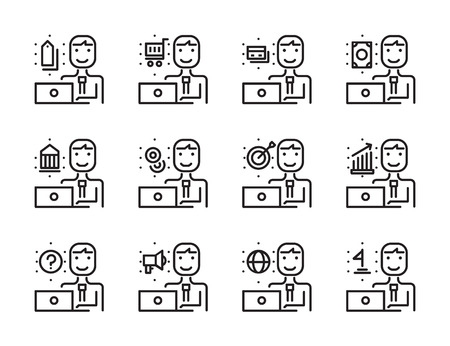 Worker man with laptop outline icon set. Online Marketing, shopping online, Banking online concept. Modern minimalistic style. Pixel perfect thin line icons design. vector illustration