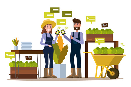 ble: Modern farmer using smartphone  in greenhouse. Smart agriculture farming and internet of thing concept. flat design elements. vector illustration