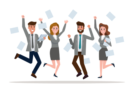 Business team jumping celebrating success. Victory and teamwork concept. flat design elements. vector illustration Ilustração