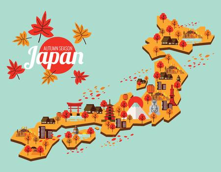 Japan Travel Map. Autumn season in japan. flat design elements. vector illustration