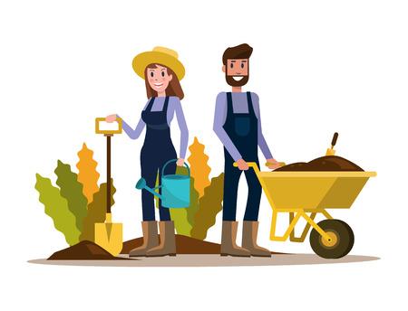 Coppia di giardinieri. disegno di carattere piatto. illustrazione vettoriale