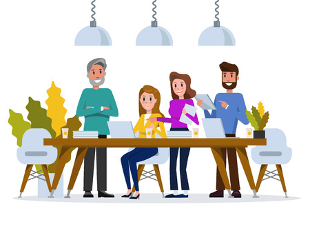 Creative People working in co-working space. flat character design. vector illustration