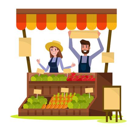 Organic Local food and vegetables market. flat design element. vector illustration