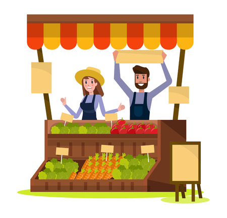 Organic Local food and vegetables market. flat design element. vector illustration