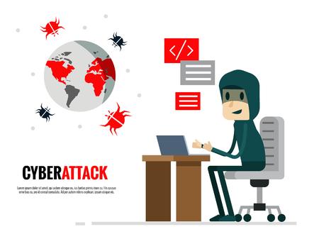 Cyber Attack concept. Hacker sending virus attack the world. Flat character design. vector illustration