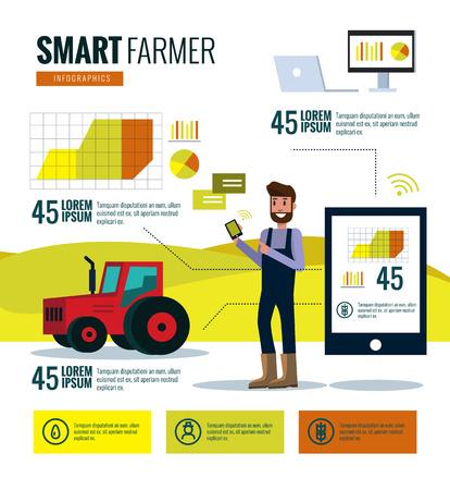 똑똑한 농부 infographics. 농장 데이터 분석 및 관리 개념입니다. 평면 디자인 요소입니다. 벡터 일러스트 레이 션