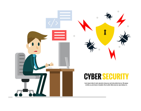 Cyber security concept. Businessman trying to protect his computer from virus. Flat character design. vector illustration