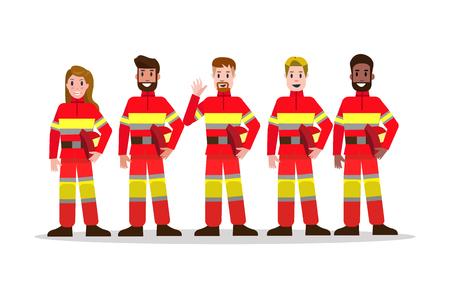 Conjuntos de equipo de lucha contra incendios. diseño de personaje de bombero plano. ilustración vectorial Ilustración de vector