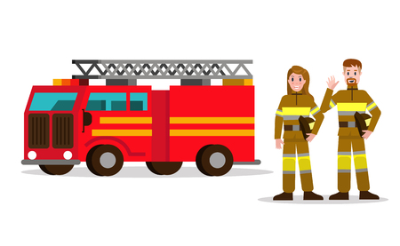 Fireman and fire woman on the background of the service car.  flat Fireman character design. vector illustration Illustration