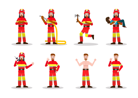 fireman: Sets of Firefighting. Fireman character design in many pose. vector illustration Illustration