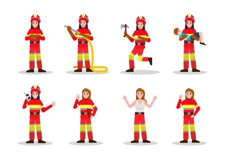 Conjuntos de lucha contra incendios. Diseño del carácter de la mujer del fuego en muchas actitud. Ilustración vectorial