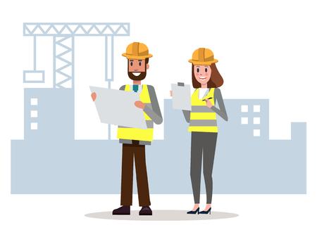 エンジニアのチームを見て、工事現場で詳細を確認します。フラットのキャラクター デザイン。ベクトル図