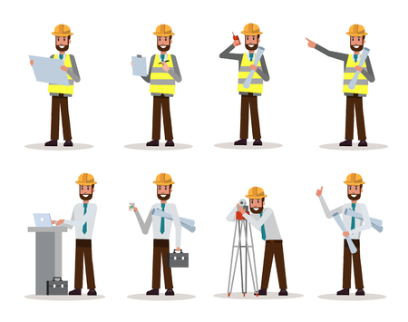 Set of engineer man watching and checking details on a construction site. flat character design. vector illustration Çizim