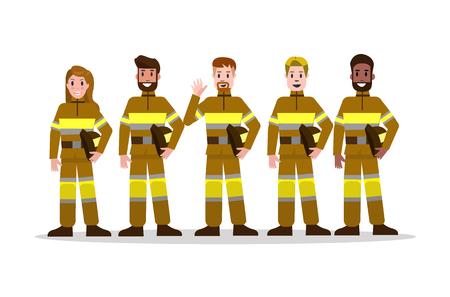 노란색 제복을 입은 소방 팀의 집합입니다. 평면 소방관 문자 디자인. 벡터 일러스트 레이 션 일러스트