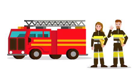 Fireman and fire woman on the background of the service car.  flat Fireman character design. vector illustration Иллюстрация