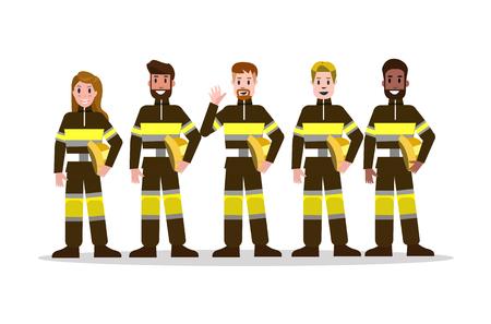 Conjunto de equipo de extinción de incendios en uniforme negro. Diseño de carácter plano del bombero. Ilustración vectorial