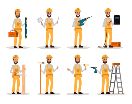 Set of Construction Worker. Worker man with construction tools in many pose. Flat character design. vector illustration
