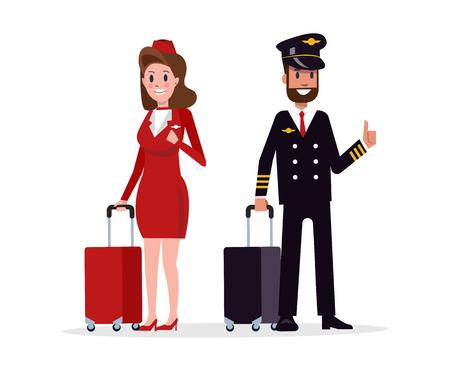 cabin attendant: Airplane flight crew. Pilot, capitan and flying attendants. flat character design vector illustration Illustration