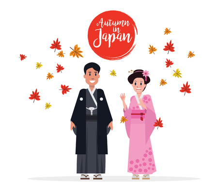 Couple Japanese people with traditional costume in autumn. Maple leaves flow in Background.  flat character design vector illustration Illustration