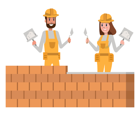 Couple of brick builder team in a yellow protective hardhat. flat character design vector illustration