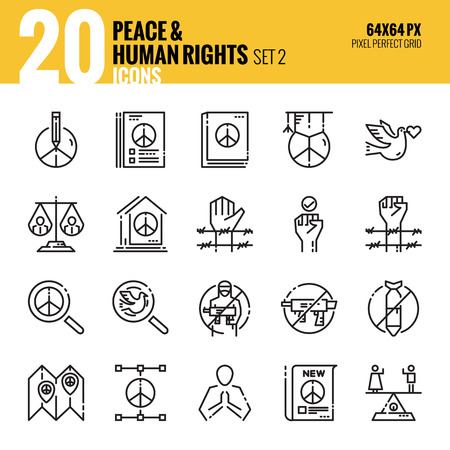 Peace and Human Rights icon set2. Flat thin line icons design. vector