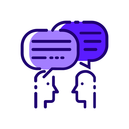 Mensen praten. Blauwe platte dunne lijn iconen. vector illustratie