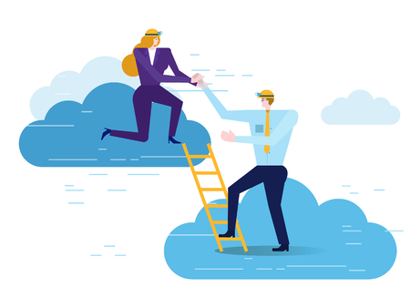 Businesswoman help Businessman climbing upward. Business partnership concept. flat design elements. vector illustration
