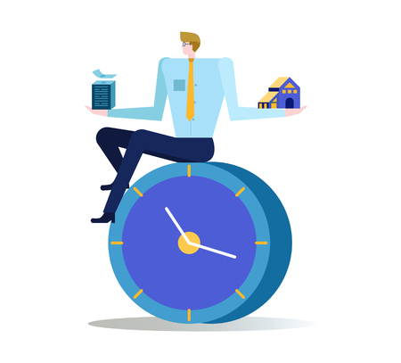 Businessman balance time for make money and time for family. Abstract working concept. flat design elements. vector illustration