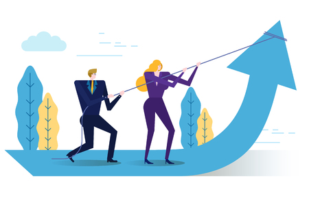 Business people change Business arrow direction. flat design elements. vector illustration