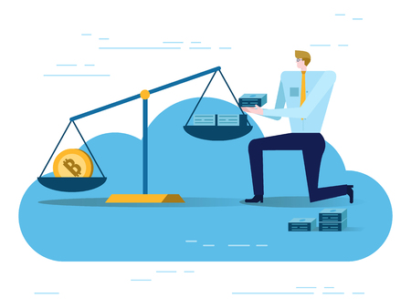 Businessman balancing Golden Bitcoins and US dollars in the scale . Electronic money exchange concept.  flat design elements. vector illustration