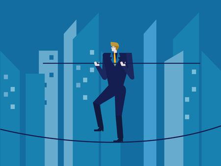 Man in suit balances on the rope. flat design elements. vector illustration Illustration
