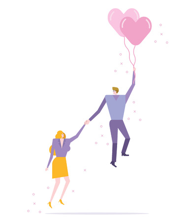 Couple flying with balloon heart. Valentines day concept . Romantic Background Vector illustration
