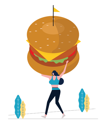 Sport woman holding big hamburger and exercising. Calorie weight burden concept. flat design vector illustration