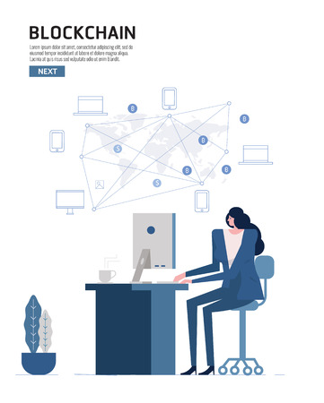 Blockchain infographics. People using computer connect with world wind device. flat design elements vector illustration Vectores