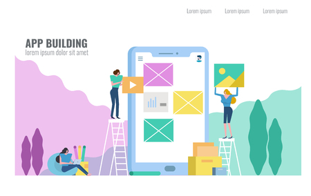 People building Mobile Application. Flat design vector illustration.